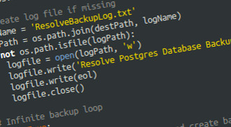 Resolve Database Backup